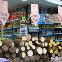 Drei Sorten Yams auf dem Brixton Market in London