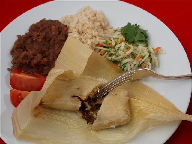 Geöffnete Tamales