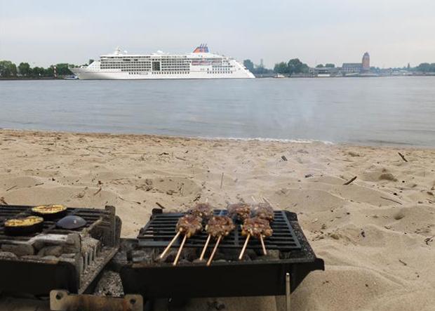 Grill am Elbstrand mit Kreuzfahrtschiff im Hintergrund