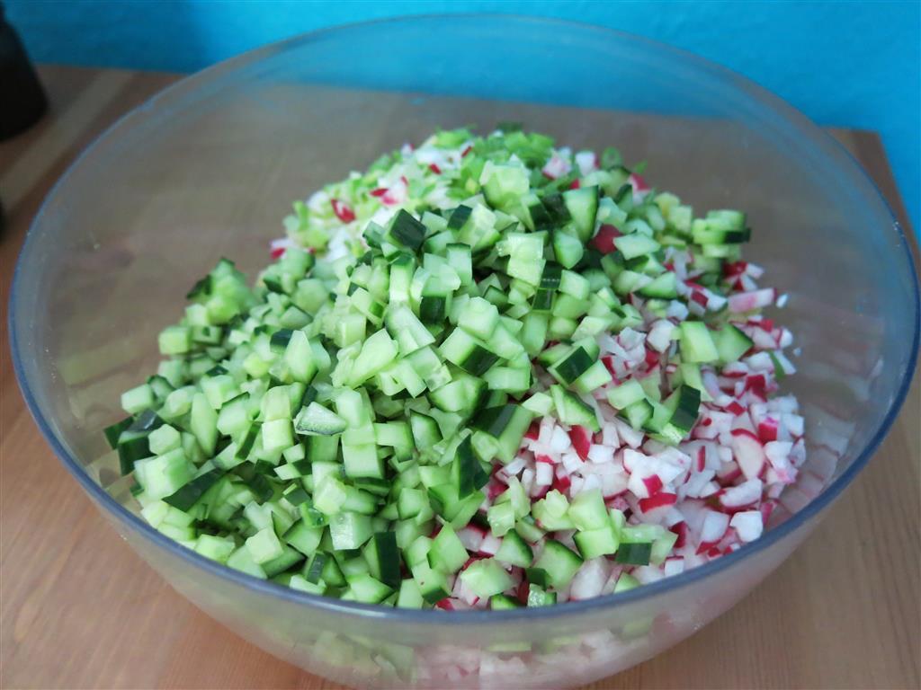 Gewürfeltes Gemüse für Buttermilchsuppe Okroschka