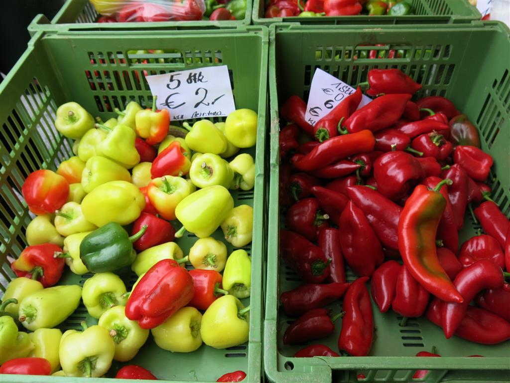 Paprikaschoten auf dem Kaiser-Josef-Markt, Graz