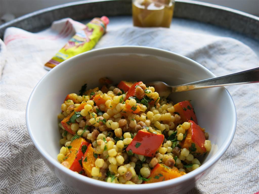 Kürbis-Fregola-Salat mit Salzzitronen