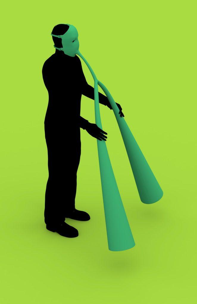 """Mensch mit grünem Grasprozessor als """"Rüssel"""""""