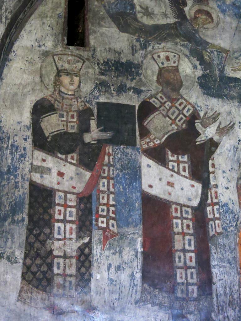 Fresko mit Königin und König